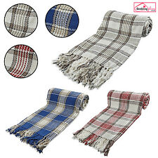 LARGE SIZE 100% Cotton Check Woven Sofa Bed Throw Blanket Bedspread Settee Cover
