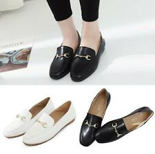 New Womens Ladies Flat Office Leather Pumps Loafers Casual Soft Slip On Shoes