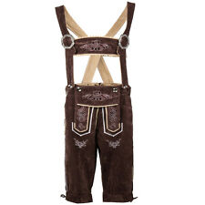 Authentic German Bavarian Lederhosen Men Coffee suede Leather Shorts