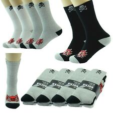 Lot 3,12 Pairs Ankle/Quarter Crew Mens Socks Cotton Long Size 9-11 10-13 Skull