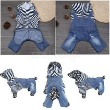 Dog Puppy Pet Clothes Apparel Striped Overall Shirt Jeans Pants Hoodie One-Piece