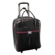 McKlein USA Volo 15.6 in. Leather Laptop Overnighter Wheeled Carry-on Bag