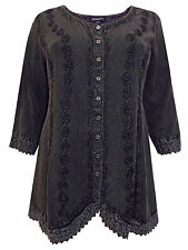 Womens plus size 18 20 22 top black  romantic embroidered button thr 3/4 sleeve
