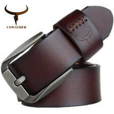 VINTAGE STYLE LEATHER BELT PIN BUCKLE GENUINE BELTS FOR MEN HIGH QUALITY MENS