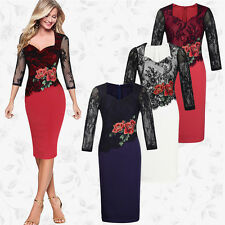 Womens Lace Long Sleeve Bodycon Party Dress Ladies Evening Cocktail Peplum Dress