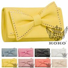 LADIES NEW STUDDED BOW DECORATION FAUX LEATHER PARTY CLUTCH BAG HANDBAG