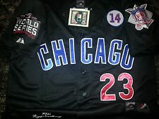 black! Chicago Cubs Throwback #23 Ryne Sandberg Cooperstown WS Patch sewn Jersey
