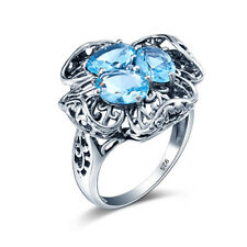 925 sterling silver ring Gemstone engagement wedding Aquamarine ring for women