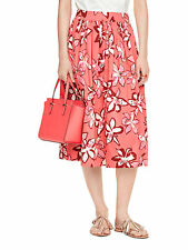 NWT Kate Spade Tiger Lily Cotton Knee-Length Floral Full Midi Pink Skirt