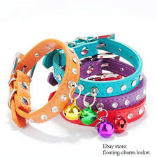 Pet Dog Cat PU Leather Rhinestone Necklace Neck Strap Puppy Buckle Bell Collar