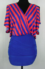 NWT True Light blue & orange striped surplice ruched bodycon mini dress, size M
