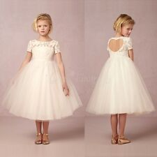 Lace Flower Girls Dress Vintage Princess Party Formal Pageant Wedding Birthday