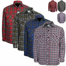 Mens Thick Lumberjack Check Button Up Padded Quilted Lined Winter Shirt Jacket