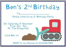 personalised paper card birthday party invites invitations DIGGER CONTRUCTION #3