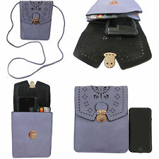 Cell Phone Cross Body Bag Purse faux Leather Two Pockets with Strap for Women