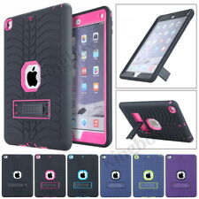 Rugged Tyre Rubber Shockproof Heavy Duty Case Cover + Kickstand Stand For iPad