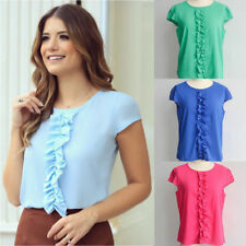 New Fashion Womens Ladies Chiffon Short Sleeve T Shirt Casual Fold Tops Blouse p