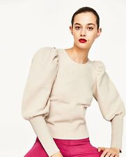 *Sold Out!* ZARA Light Sand Sweater Full Wide Puff Sleeves S Small BNWT