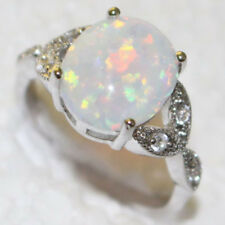 Australian Sterling Silver Plated Fire Opal Ring Wedding Engagement Oval Gems AU