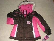 Protection System Girls Bubble Hoodie Fleece Jacket Brown PInk  Sz14/16-NWT $70