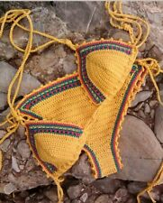 Crochet bikini yellow multi colour rainbow stripe hippie boho festival size Xs