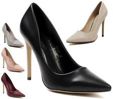 LADIES POINTED HIGH HEEL FAUX LEATHER SMART WORK PARTY COURT SHOES PUMPS SIZE