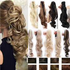 Mega Thick Clip in Claw on Ponytail Hair Extensions Curly Wavy For HumanAz83