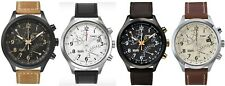 Timex Intelligent Quartz Chronograph Brown Black Tan Leather Strap Gents Watch