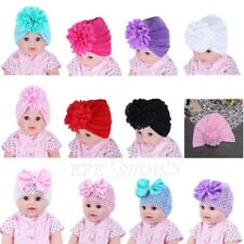 3x Baby Toddler Kids Flower Cap Bohemia Girls Beanie Hat Knit Turban Ruched Hats
