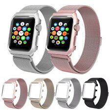 Magnetic Replacement Wrist Band With Metal Protective Case For Apple Watch 38 42