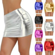 Women Shiny Metallic Wet Look Bodycon Mini Skirt Pencil Short Dress Clubwear