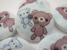 "Brown Teddy Bear Buttons 15mm (3/8"") Kids Baby Clothing Wood Sewing Buttons"