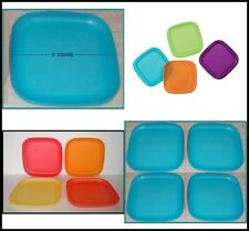 "TUPPERWARE SET OF FOUR (4) 8"" Square COLORED Luncheon LUNCH Plates U PICK COLOR"