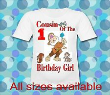 Any Saying Cousin of the Birthday Girl Dopey Dwarf T Shirt All Sizes Seven Dwarf