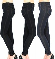 NEW WOMENS LADIES STRETCHY DENIM LOOK JEGGING LEGGING SKINNY FIT PLUS SIZE 16-26