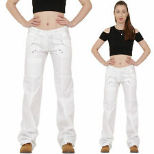 New Ladies Womens White Lightweight Wide Loose Leg Cargo Pants Combat Trousers