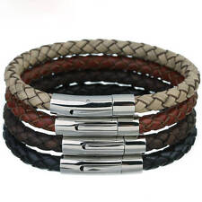 Mens Leather Bracelet Braided Leather With Stainless Steel Magnetic Clasp, CS-3