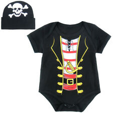 Baby Boy Pirate Costume Romper Infant Party Bodysuit Toddler Cute Sets with Hat