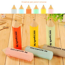 Cute Silicone Pen Pencil Case Zipper Makeup Cosmetic School Bag Box Stationery