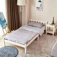 3FT / 4FT6 Single/Double Bed White/ Beech Bed Wooden Frame Pine Wood Bedroom