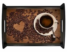 Large Serving Tray with Handles Coffee Bean Hearts Hostess/Housewarming Gift