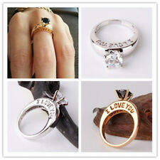 14K White&Yellow Gold Filled ILOVEU Carved Ring Size 7-10 Selectable Free Ship