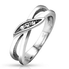 AF stainless steel Ring silver 0 7/32in wide Marquise cut Stone 47 15 57 18