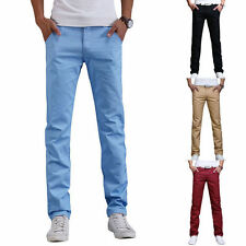 Cool Mens Casual Slim Fit Straight Long Trousers Jeans Formal Dress Leisure Pant