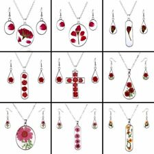 Natural Real Dried Flowers Jewelry Set Glass Oval Pendant Necklace Earrings New