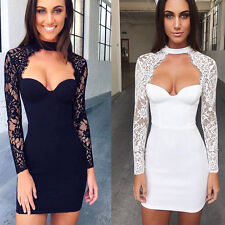 Women Lace Splice Long Sleeve Bodycon Cocktail Patry Night Club Sexy Mini Dress