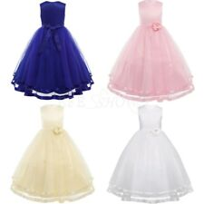 Kids Girl Princess Tulle Flower Girl Dress Wedding Bridesmaid Formal Party Dress
