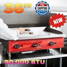 """36"""" Flat Grill Countertop Gas Griddle Burner Manual Controls Steel Plate Top"""