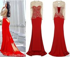 CELEB RED GOLD SPARKLE SLINKY FITTED MAXI FISHTAIL PARTY PROM DRESS 6 -18