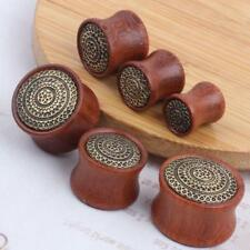 PAIR-Flared Flower WOOD PLUGS -ORGANIC FLESH TUNNELS-EAR GAUGES-EAR PLUGS